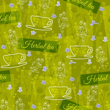 herbal background: Herbal tea theme floral background.  Seamless vector pattern with silhouette cups, flowers and leaves on green background.