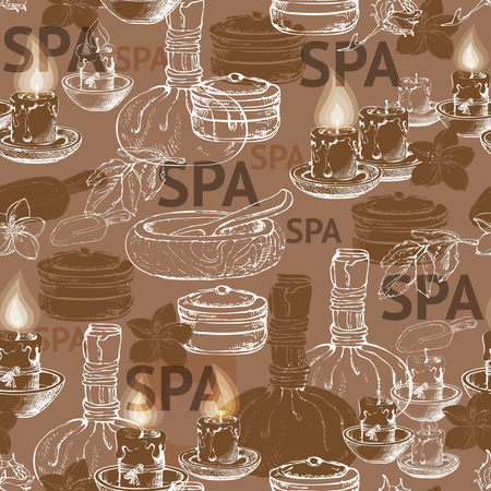 body massage: Seamless vector pattern with hand  drawn silhouette spa accessories on brown background. Illustration