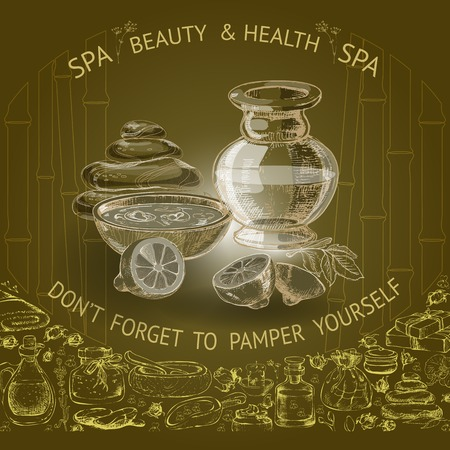 wholesome: illustration with hand  drawn silhouette spa accessories on brown background.