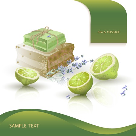 handmade soap: Vector illustration with  spa accessories   hand made soap, lime and lavender on white background.
