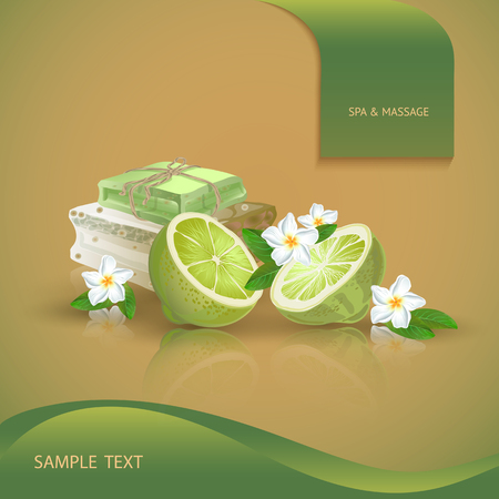 handmade soap: Vector illustration with  spa accessories   hand made soap, lime and flower on orange background.