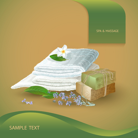 rejuvenation: Vector illustration with  spa accessories   hand made soap, lime, towel and flowers on orange background.