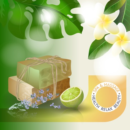 handmade soap: Vector illustration with  spa accessories hand made soap, lime and lavender on floral background. Illustration