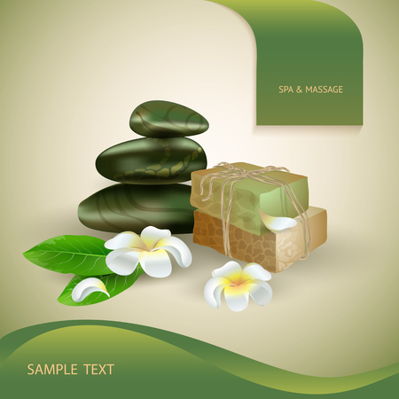 stack stones: Vector illustration with  spa accessories stack stones, hand made soap and flowers on light background. Illustration