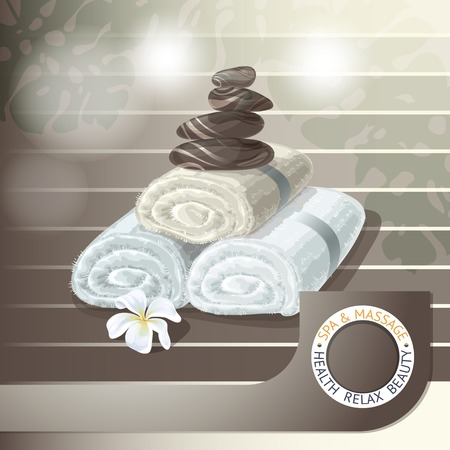 stones with flower: Vector illustration with  spa accessories   stones,  towels and  white flower on brown background.