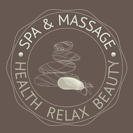 massage stones: SPA themed vector illustration with stones. Badge template with text Spa Massage, Health  Relax  Beauty.