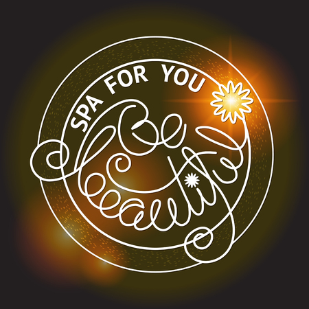 dark brown background: Vector illustration with  handwritten words  Be beautiful, Spa for you  in a shape of  circle on  dark brown background. Illustration