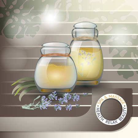 rejuvenation: Vector illustration with  spa accessories  bottles with oil and  lavender on brown striped background.