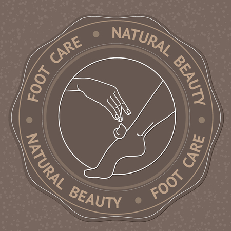 foot care: SPA theme vector illustration with foot, hand and text Foot Care Natural Beauty. Badge template. Illustration