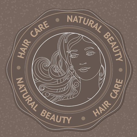 natural face: SPA theme vector illustration with face, hair and text Hair Care Natural Beauty. Badge template.