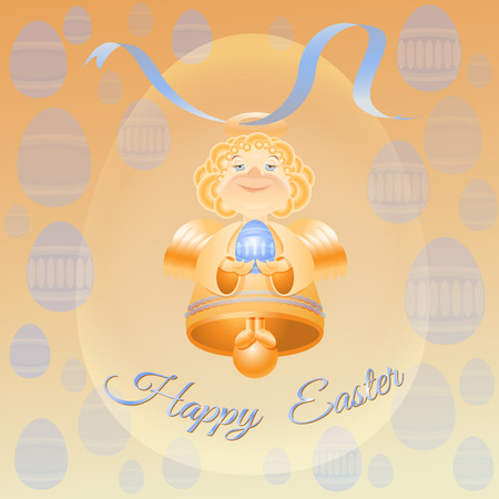 ester: Easter theme vector illustration with golden bell angel, blue Ester eggs, ribbon and words Happy Easter on yellow background.