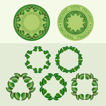 grower: Vector  set  frames of leaves and badge templates with text Organic, Natural product. Illustration