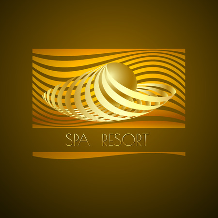 themed: Spa themed vector illustration, design using golden line curve and sphere. Logo, symbol, icon  on brown background.