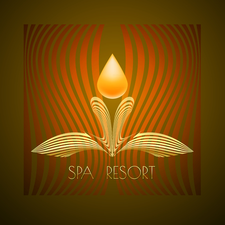 ine: Spa themed vector illustration, design using golden line curve and drop. Logo, symbol, icon  on brown background.