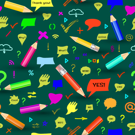 sings: Seamless pattern with pencis, sings and speech bubbles on green background.