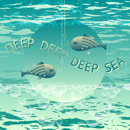 deepsea: Deep Sea. Vector fishing themed lettering typography as logotype, badge.