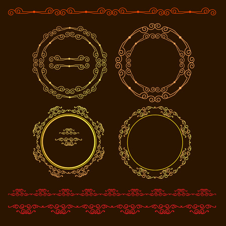 escarapelas: Vector illustration with set of isolated rosettes.
