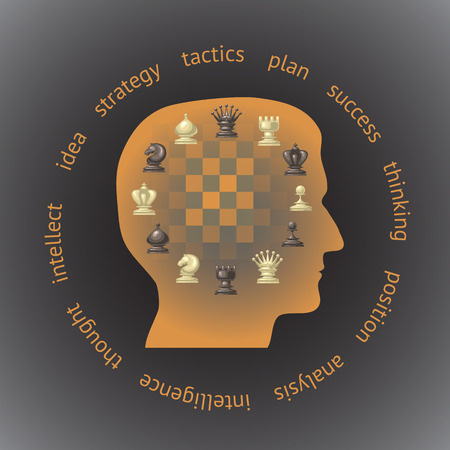 principle: Silhouette of a head in profile filled with chess pieces. Concept strategy, thinking, analysis  in head.