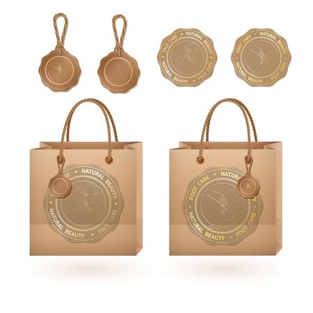 Recyclez le papier brun achats étiquette vintage sac et carton avec visage, Soins des pieds beauté naturelle.