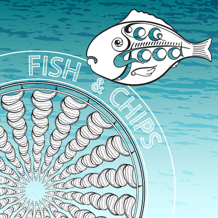 fish and chips: Silhouette of fish with word Seafood. illustration Fish and Chips on  aquamarine background.
