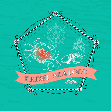 fresh seafood: Vector label with seafood  silhouette crab, lemon, dill, nautical accessory and words Fresh Seafood on aquamarine background.