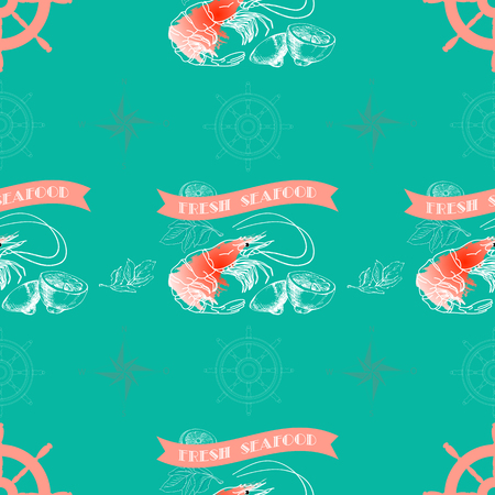 aquatic herb: Vector seamless pattern with shrimp, lemon,  words Fresh Seafood on  aquamarine background.
