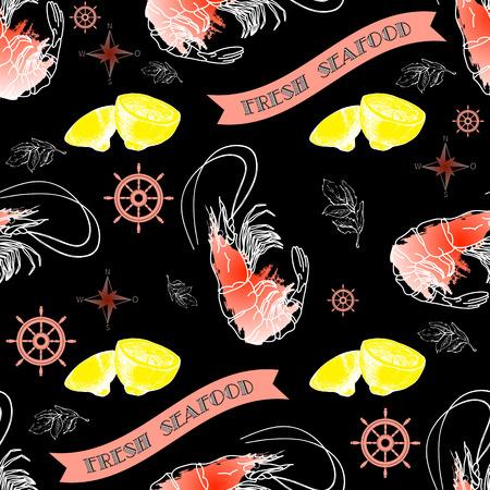 fresh seafood: Vector seamless pattern with shrimp, lemon, helm, words Fresh Seafood on  dark background.