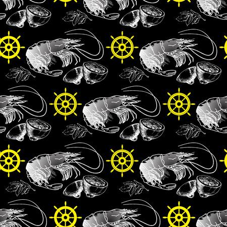 aquatic herb: Vector seamless pattern with shrimp, lemon, helm  on  dark background. Illustration