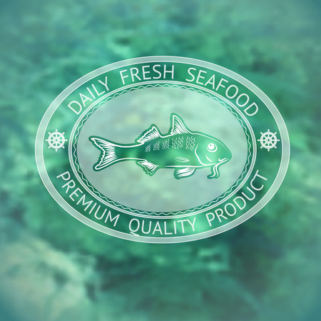 fresh seafood: Vector  label with silhouette fish and words Daily Fresh Seafood on marine background. Illustration