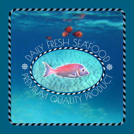fresh seafood: Vector  label with  fish silhouette, nautical accessory and words Daily Fresh Seafood  on marine background.