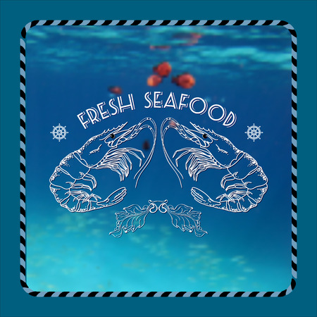 fresh seafood: Vector label with shrimp silhouette and words Fresh Seafood on marine background. Illustration