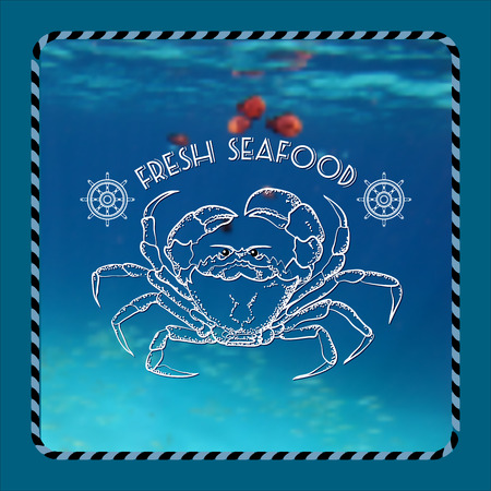 fresh seafood: Vector  label with crab silhouette, nautical accessory and words Fresh Seafood on marine background.