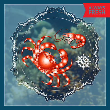 blue crab: Vector  label with  crab and shrimp, nautical accessory and words Always Fresh  on blue marine background.