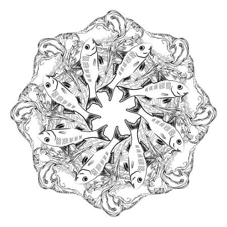 alga: Hand drawn  vector ornamental mandala for coloring with fishes and alga on white background. Marine circle ornament.