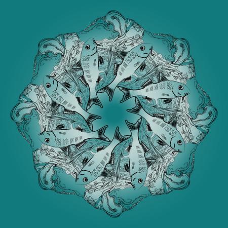 alga: Hand drawn  vector ornamental mandala with fishes and alga on blue background. Marine circle ornament.