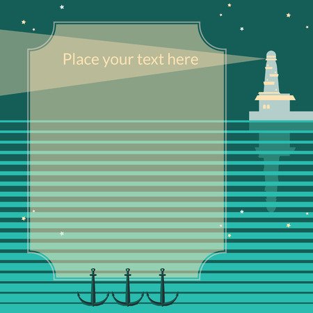 navigating: Vector retro frame on blue backgroung with lighthouse, beam, stars, sea and anchors.