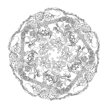 alga: Hand drawn  vector ornamental mandala for coloring with crabs, shrimps, shells, starfishes, alga and floral design elements on white background. Marine doodle circle ornament.