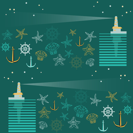 lighthouse beam: Seamless pattern with lighthouse, beam, stars, sea, wheel, shell, starfish and anchor. Retro pattern on blue backgroung Illustration