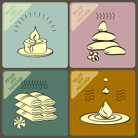 towels: Vector set  icons with oil, stone, candle,  towels and words spa and massage.