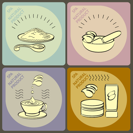 massage herbal: Vector set  icons with salt, mortar and pestle, herbal tea, cosmetic mask and words spa and massage. Illustration