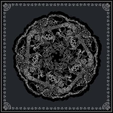 alga: Black and white bandana square pattern design for print on fabric. Kerchief or neck scarf style. Mandala vector illustration with crabs, shrimps, starfishes and alga.