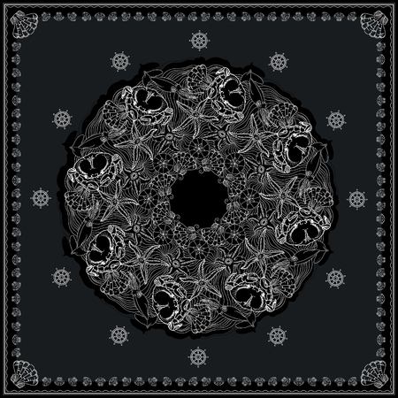 neck wear: Black and white bandana square pattern design for print on fabric. Kerchief or neck scarf style. Mandala vector illustration with crabs, squids, starfishes, shells, helms and waves.