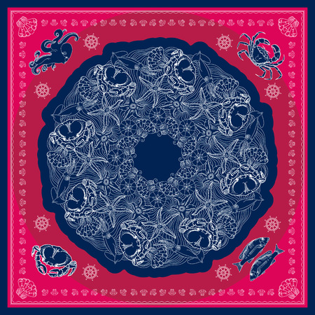 neck wear: Blue and pink bandana square pattern design for print on fabric. Kerchief or neck scarf style. Mandala vector illustration with crabs, squids, starfishes, shells and waves.