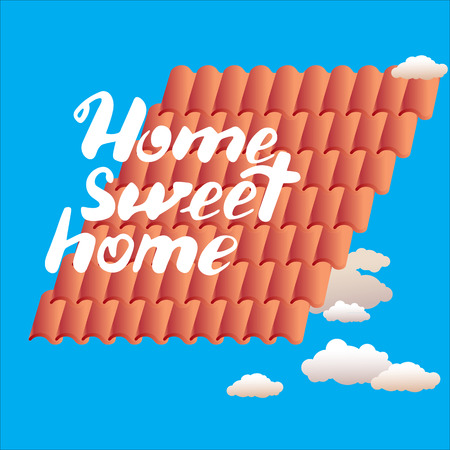 homely: Hand drawn vector lettering. Calligraphic quote printable phrase Home sweet home on blue background with tiles and clouds. For housewarming posters, greeting cards, home decorations, mood board.