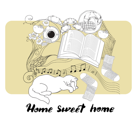 homely: Hand drawn vector lettering. Calligraphic quote printable phrase Home sweet home on light background with socks, cat, book, cookies, croissant, coffee, notes, apple.
