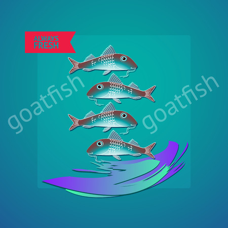 goatfish: Vector illustration seafood themed with fishes, wave and label always fresh on blue background. Illustration