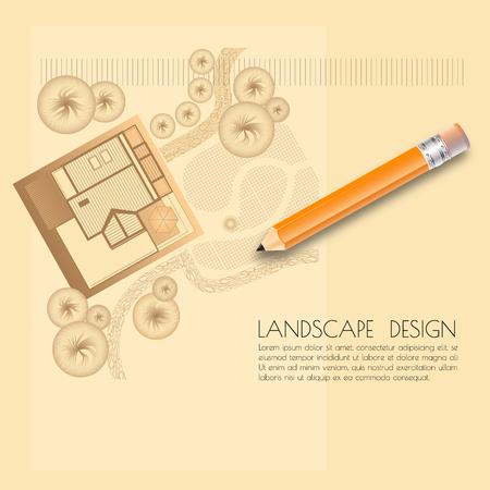Vector illustration of garden plan with tree symbols, pencil and words Landscape design on light background.