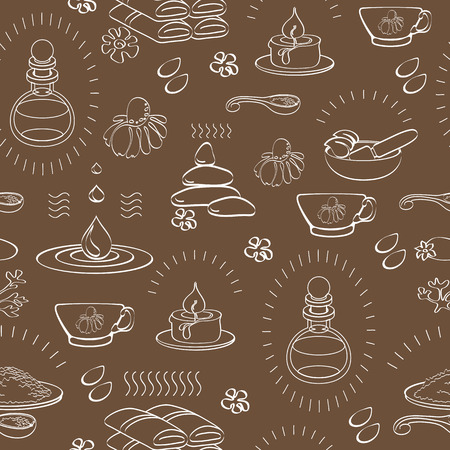 chamomile tea: Vector spa themed seamless pattern with signs oil, stone, candle, bank, bottle, chamomile, tea, towel, cup, mortar and pestle on brown background Illustration