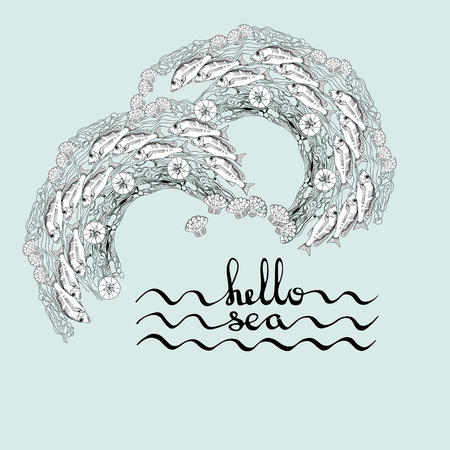 alga: Hello Sea. Greeting card poster with calligraphy black text word. Hand drawn sea themed  elements. Handwritten  lettering on a light blue marine background  with fishes, shells, alga.