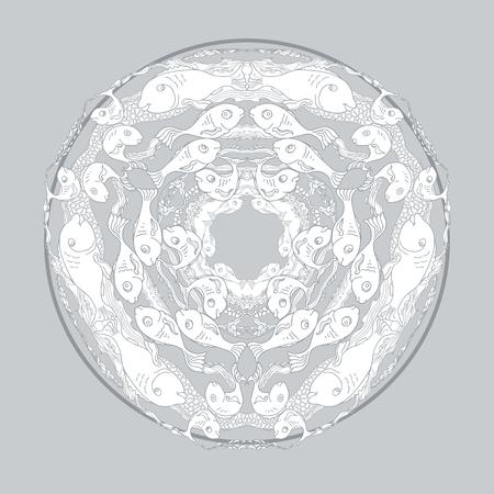 alga: Hand drawn  vector ornamental mandala for coloring with fishes and alga on grey background. Marine circle ornament. Illustration